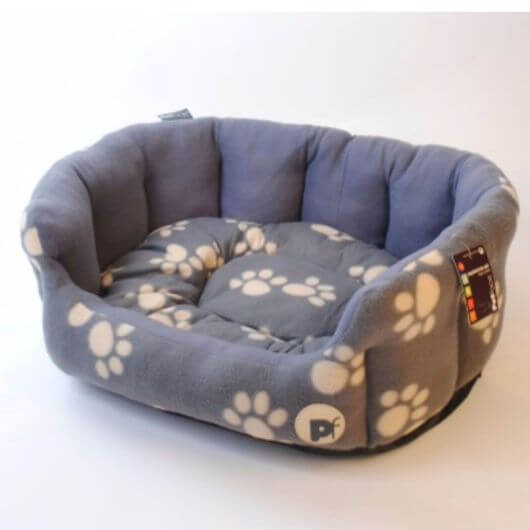 Petface Paw Oval Bed - Grey/Cream Large