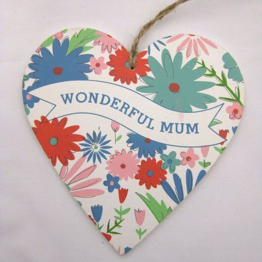Gisela Graham Mum Floral Wood Heart  - Large