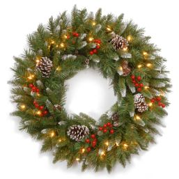 "National Tree 20"" Pre-lit Frosted Berry Wreath"